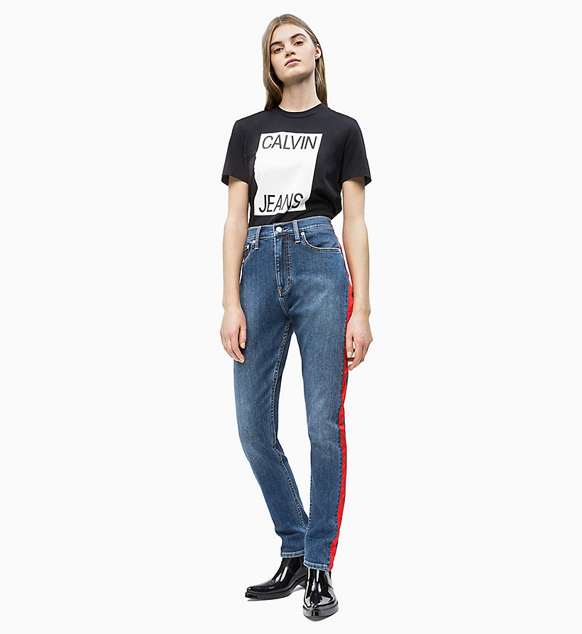 CALVIN KLEIN JEANS Straight Fit Logo-T-Shirt - BRIGHT WHITE/ RACING RED - CALVIN KLEIN JEANS DAMEN - main image 3