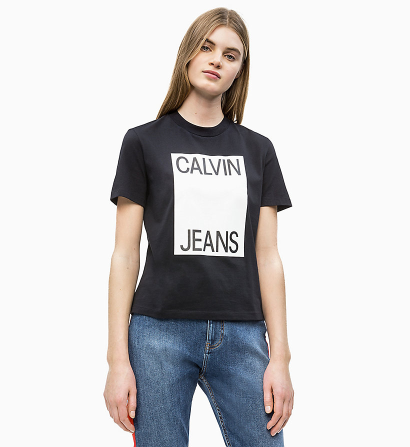 CALVIN KLEIN JEANS Straight Fit Logo-T-Shirt - BRIGHT WHITE/ RACING RED - CALVIN KLEIN JEANS DAMEN - main image