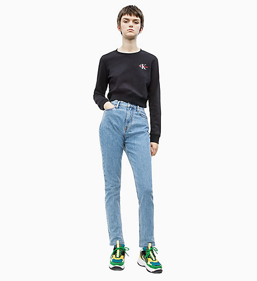 CALVIN KLEIN JEANS Cropped Embroidered Sweatshirt - CK BLACK - CALVIN KLEIN JEANS NEW IN - detail image 1