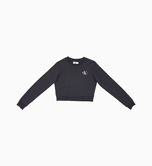 CALVIN KLEIN JEANS Cropped Embroidered Sweatshirt - CK BLACK - CALVIN KLEIN JEANS NEW IN - main image
