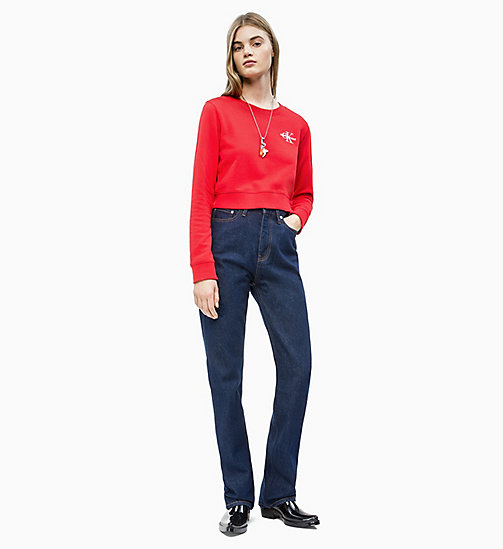 CALVIN KLEIN JEANS Cropped Embroidered Sweatshirt - RACING RED - CALVIN KLEIN JEANS NEW IN - detail image 1