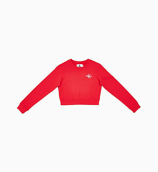 CALVIN KLEIN JEANS Cropped Embroidered Sweatshirt - RACING RED - CALVIN KLEIN JEANS NEW IN - main image