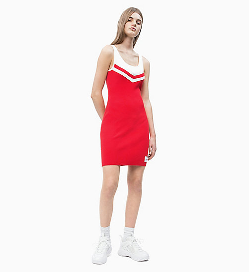 CALVIN KLEIN JEANS Rib-Knit Cheerleader Dress - RACING RED/WHITE - CALVIN KLEIN JEANS #MYCALVINS - detail image 1