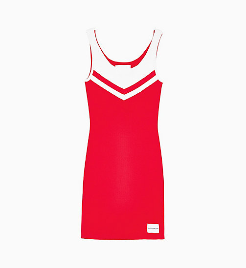 CALVIN KLEIN JEANS Rib-Knit Cheerleader Dress - RACING RED/WHITE - CALVIN KLEIN JEANS #MYCALVINS - main image