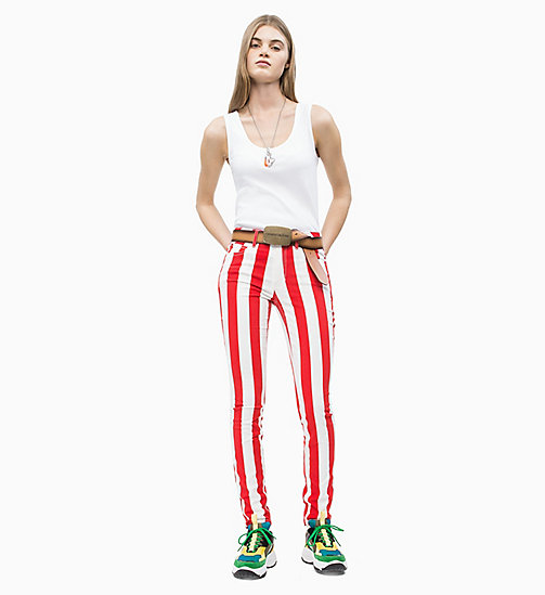 CALVIN KLEIN JEANS Mid Rise Skinny Stripe Trousers - RACING RED / BRIGHT WHITE - CALVIN KLEIN JEANS NEW IN - detail image 1