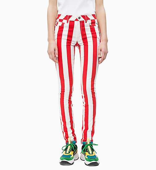 CALVIN KLEIN JEANS Mid Rise Skinny Stripe Trousers - RACING RED / BRIGHT WHITE - CALVIN KLEIN JEANS NEW IN - main image