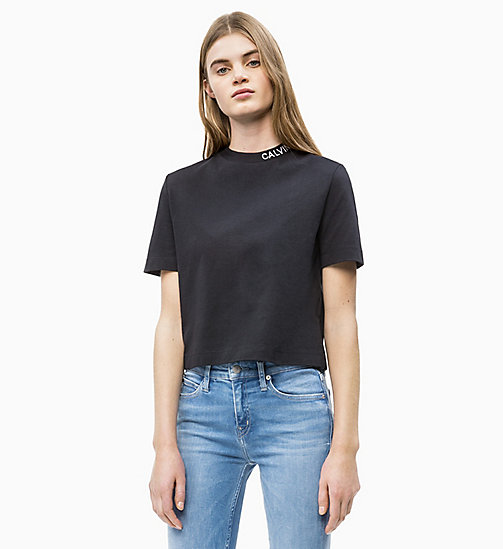 CALVIN KLEIN JEANS Cropped Skater T-shirt - CK BLACK - CALVIN KLEIN JEANS NEW IN - main image