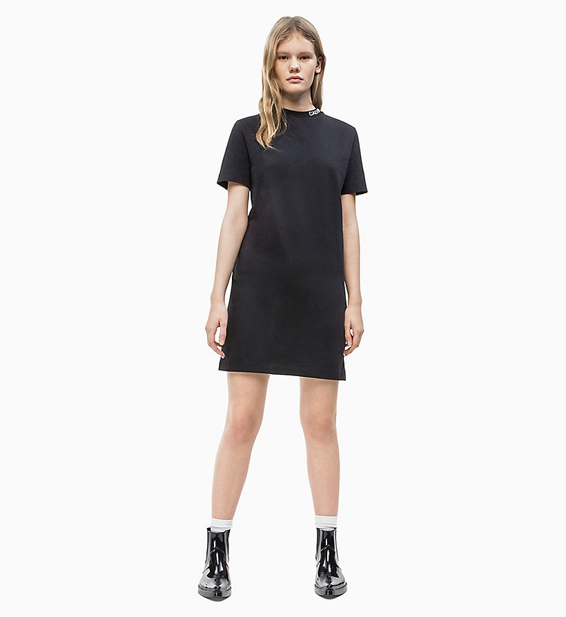 CALVIN KLEIN JEANS Logo Collar T-shirt Dress - BRIGHT WHITE - CALVIN KLEIN JEANS WOMEN - detail image 1