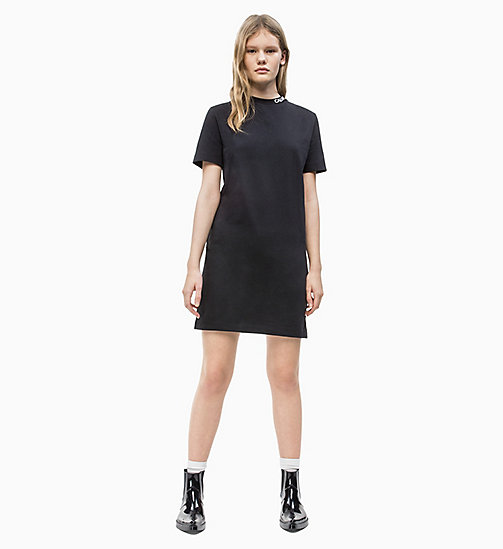 CALVIN KLEIN JEANS Logo Collar T-shirt Dress - CK BLACK - CALVIN KLEIN JEANS NEW IN - detail image 1