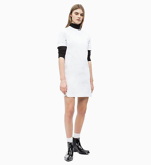 CALVIN KLEIN JEANS Logo Collar T-shirt Dress - BRIGHT WHITE - CALVIN KLEIN JEANS NEW IN - detail image 1