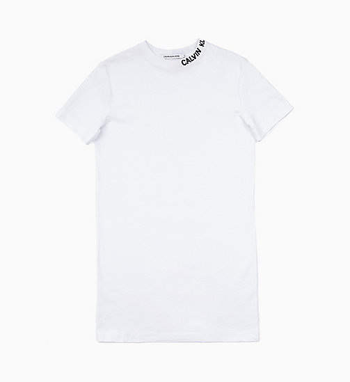 CALVIN KLEIN JEANS Logo Collar T-shirt Dress - BRIGHT WHITE - CALVIN KLEIN JEANS NEW IN - main image