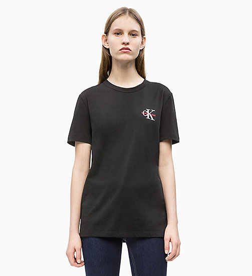 CALVIN KLEIN JEANS Straight Embroidered Logo T-shirt - CK BLACK - CALVIN KLEIN JEANS NEW IN - main image