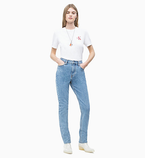 CALVIN KLEIN JEANS Straight Embroidered Logo T-shirt - BRIGHT WHITE - CALVIN KLEIN JEANS NEW IN - detail image 1
