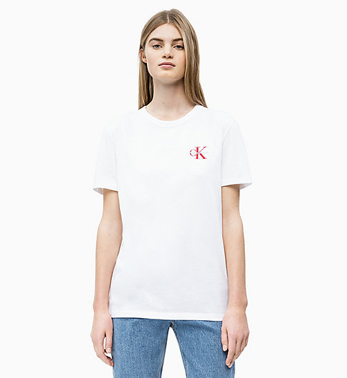 CALVIN KLEIN JEANS Straight Fit T-Shirt mit gesticktem Logo - BRIGHT WHITE - CALVIN KLEIN JEANS NEW IN - main image
