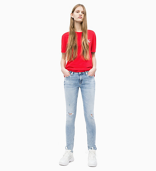 CALVIN KLEIN JEANS Straight Embroidered Logo T-shirt - RACING RED - CALVIN KLEIN JEANS NEW IN - detail image 1