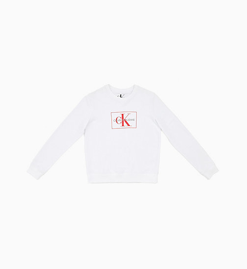 CALVIN KLEIN JEANS Monogram Logo Sweatshirt - BRIGHT WHITE/ RACING RED - CALVIN KLEIN JEANS NEW IN - main image