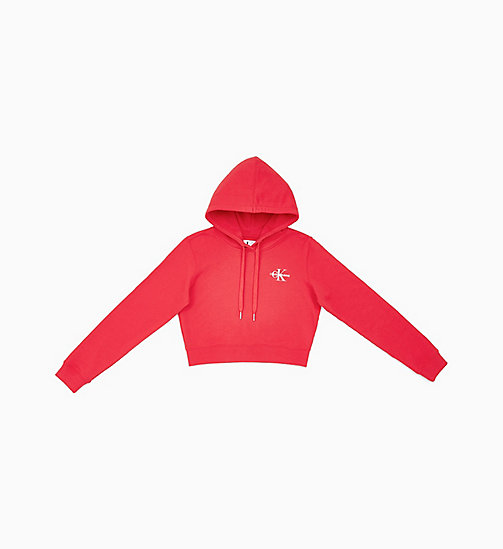 CALVIN KLEIN JEANS Cropped Embroidered Hoodie - RACING RED - CALVIN KLEIN JEANS NEW IN - main image