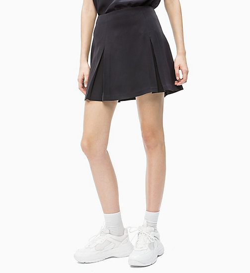 CALVIN KLEIN JEANS Pleated Satin Mini Skirt - CK BLACK - CALVIN KLEIN JEANS NEW IN - main image