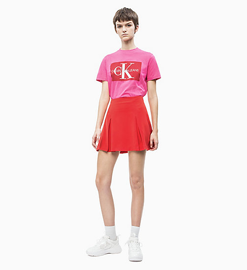 CALVIN KLEIN JEANS Pleated Satin Mini Skirt - RACING RED - CALVIN KLEIN JEANS NEW IN - detail image 1