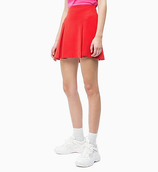 CALVIN KLEIN JEANS Pleated Satin Mini Skirt - RACING RED - CALVIN KLEIN JEANS NEW IN - main image