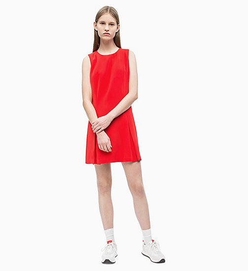 CALVIN KLEIN JEANS Flared Satin Dress - RACING RED - CALVIN KLEIN JEANS NEW IN - detail image 1