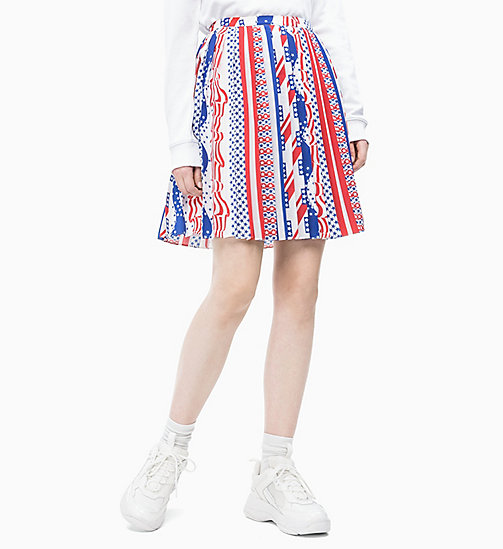 CALVIN KLEIN JEANS Pleated Flag Skirt - FLAG AOP SURF THE WEB MULTI - CALVIN KLEIN JEANS NEW IN - main image