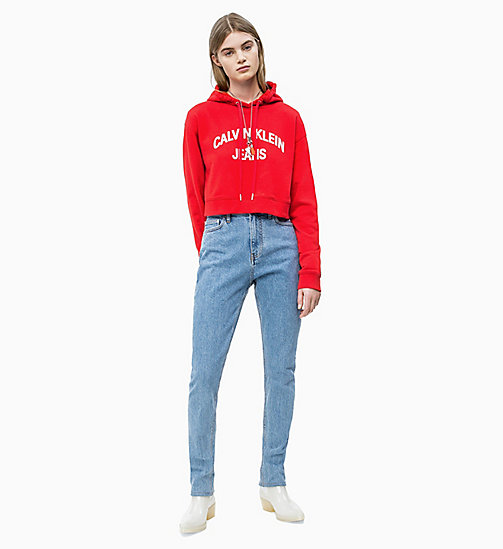 CALVIN KLEIN JEANS Cropped Logo Hoodie - RACING  / BRIGHT WHITE - CALVIN KLEIN JEANS NEW IN - detail image 1
