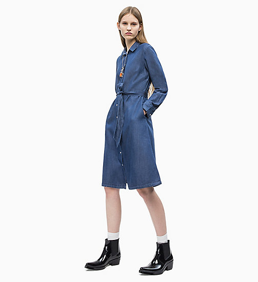 CALVIN KLEIN JEANS Denim Belted Shirt Dress - DARK INDIGO - CALVIN KLEIN JEANS NEW IN - detail image 1