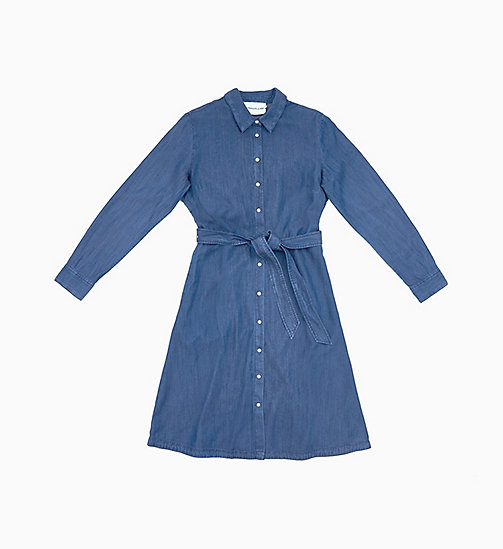 CALVIN KLEIN JEANS Denim Belted Shirt Dress - DARK INDIGO - CALVIN KLEIN JEANS NEW IN - main image