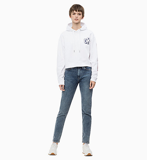 CALVIN KLEIN JEANS Cropped Logo Hoodie - BRIGHT WHITE - CALVIN KLEIN JEANS CALVIN KLEIN JEANS CAPSULE - detail image 1