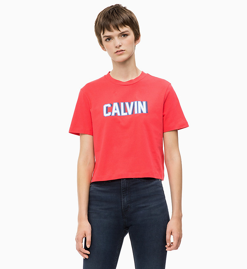 CALVIN KLEIN JEANS Cropped T-shirt met logo - BRIGHT WHITE - CALVIN KLEIN JEANS DAMES - main image