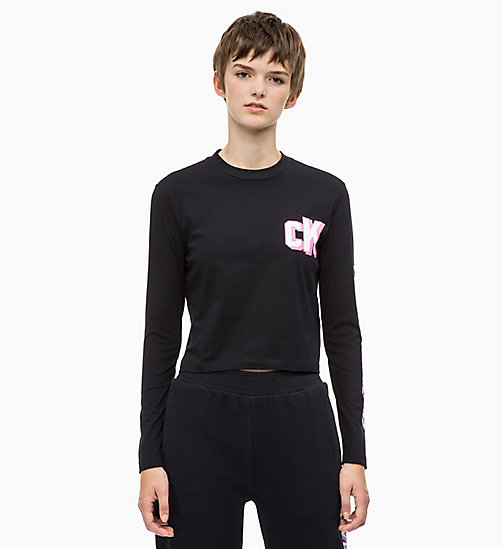 CALVIN KLEIN JEANS Cropped Long Sleeve Logo T-shirt - CK BLACK - CALVIN KLEIN JEANS CALVIN KLEIN JEANS CAPSULE - main image