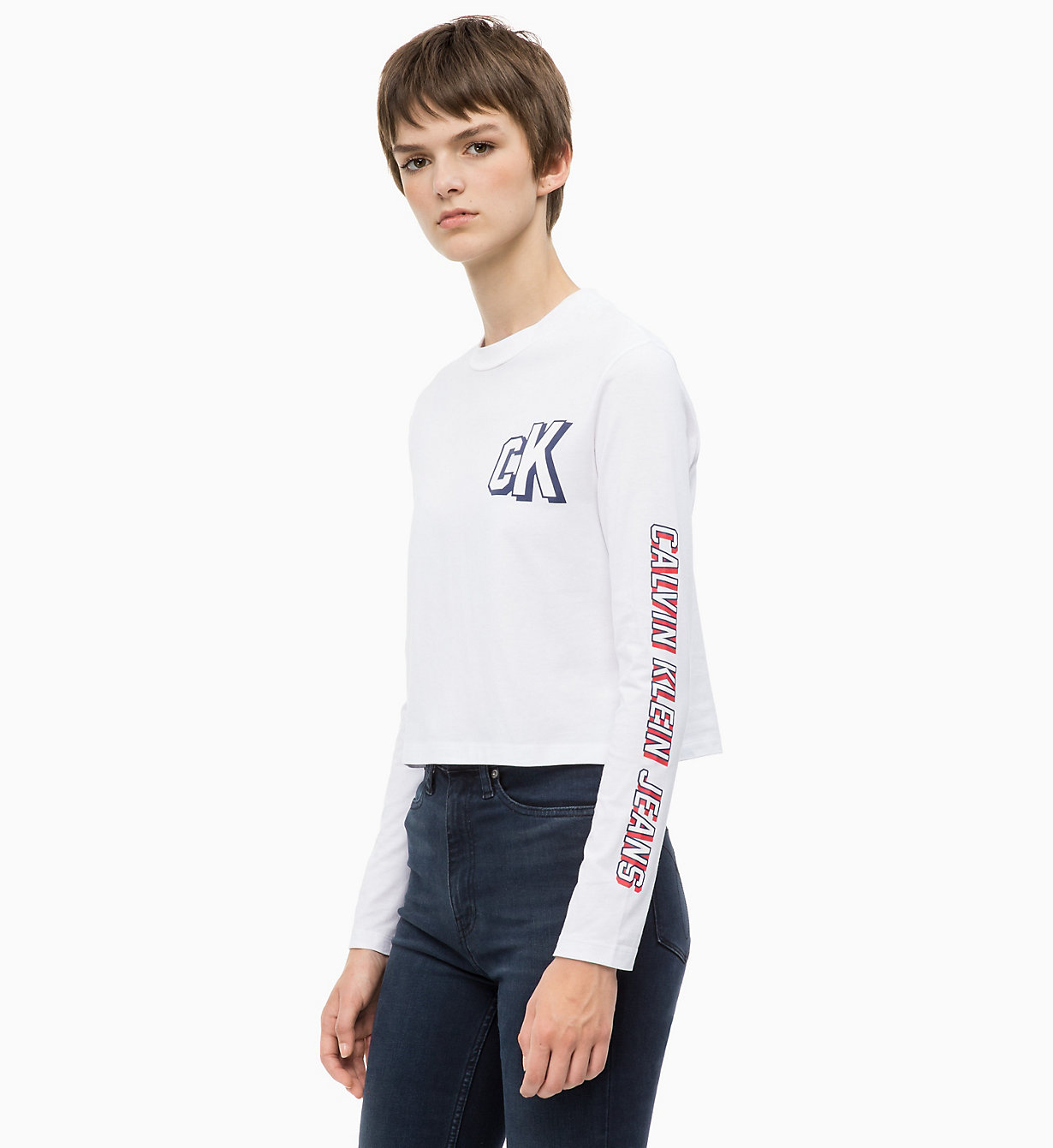 Cropped Long Sleeve Logo T Shirt by Calvin Klein Jeans