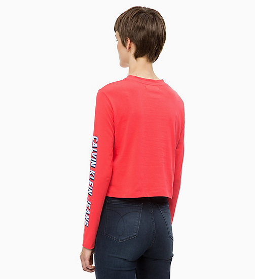 CALVIN KLEIN JEANS Cropped Long Sleeve Logo T-shirt - TOMATO - CALVIN KLEIN JEANS CALVIN KLEIN JEANS CAPSULE - detail image 1