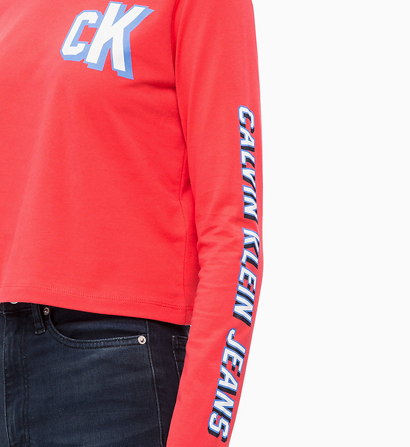 CALVIN KLEIN JEANS Cropped Long Sleeve Logo T-shirt - BRIGHT WHITE - CALVIN KLEIN JEANS WOMEN - detail image 2