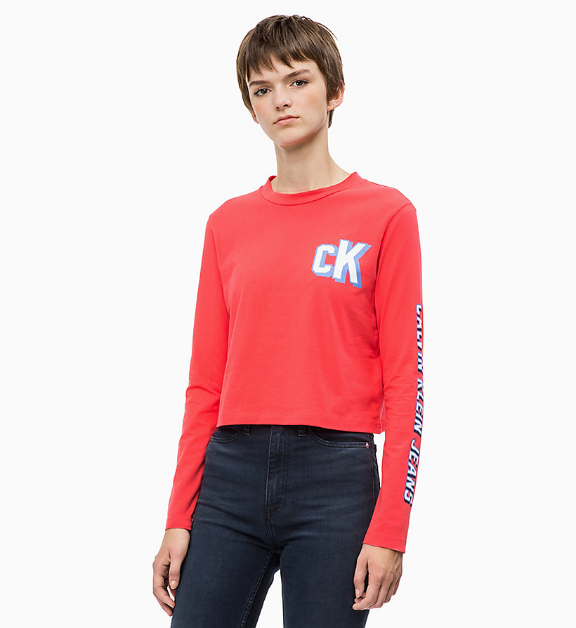 CALVIN KLEIN JEANS Cropped Long Sleeve Logo T-shirt - BRIGHT WHITE - CALVIN KLEIN JEANS WOMEN - main image