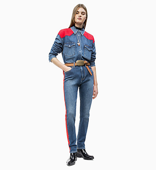 CALVIN KLEIN JEANS CKJ 020 High Rise Slim Taped Jeans - MID STONE AND RED - CALVIN KLEIN JEANS NEW IN - detail image 1