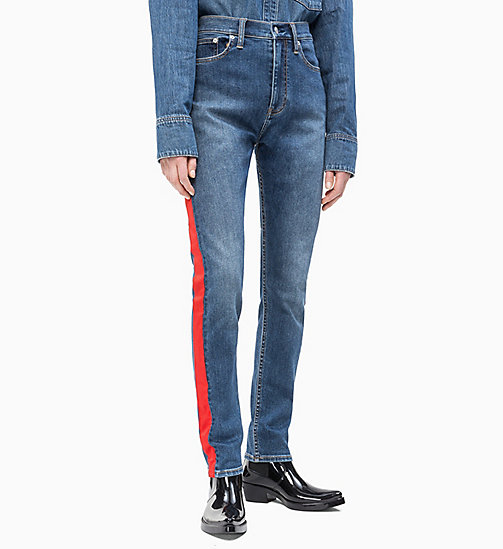 CALVIN KLEIN JEANS CKJ 020 High Rise Slim Taped Jeans - MID STONE AND RED - CALVIN KLEIN JEANS NEW IN - main image