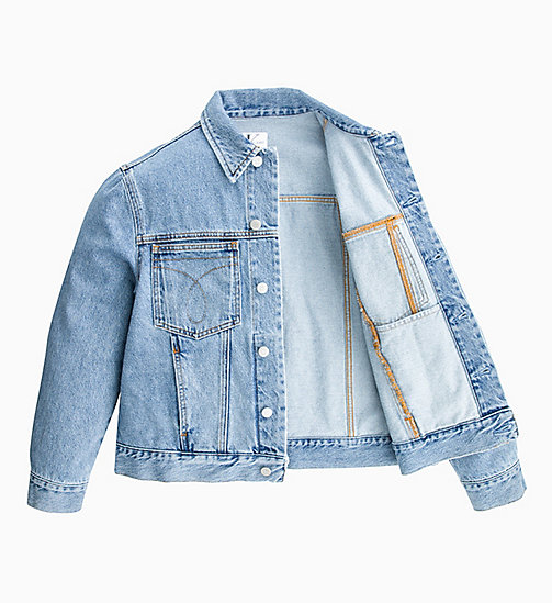 CALVIN KLEIN JEANS Oversized Denim Trucker Jacket - ICONIC MID STONE - CALVIN KLEIN JEANS DENIM SHOP - main image