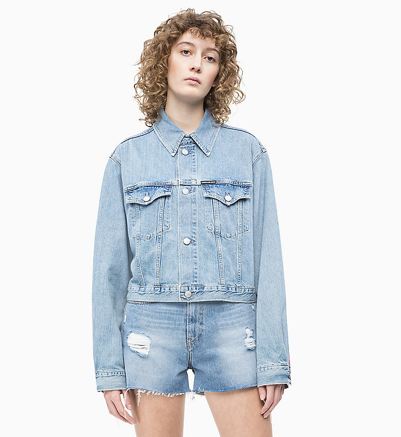 Ricamata Da Giacca Donna Corta Trucker Jeans Di Calvin 6yfb7gYv