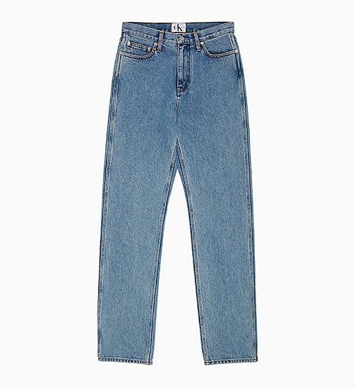 CALVIN KLEIN JEANS CKJ 030 High Rise Straight Jeans - ICONIC MID STONE CMF - CALVIN KLEIN JEANS DENIM SHOP - main image