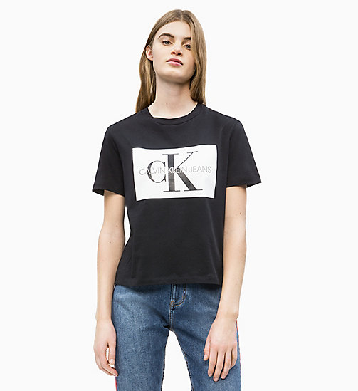 CALVIN KLEIN JEANS Straight Logo T-shirt - CK BLACK / WHITE - CALVIN KLEIN JEANS NEW IN - main image