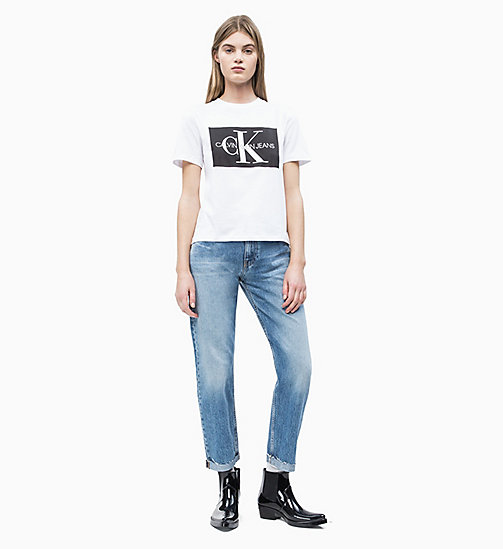 CALVIN KLEIN JEANS Straight Fit Logo-T-Shirt - BRIGHT WHITE / CK BLACK - CALVIN KLEIN JEANS NEW IN - main image 1