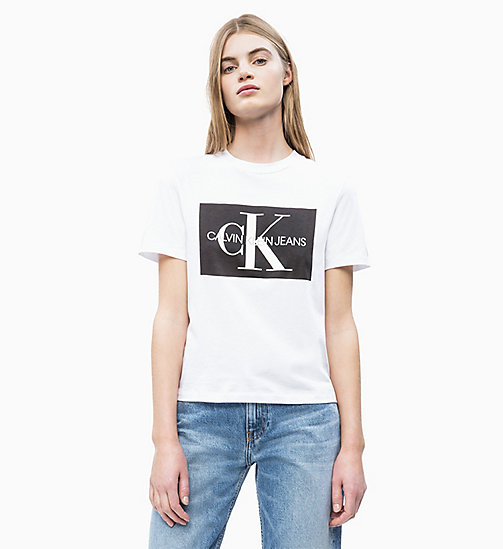 CALVIN KLEIN JEANS Straight Logo T-shirt - BRIGHT WHITE / CK BLACK - CALVIN KLEIN JEANS NEW IN - main image