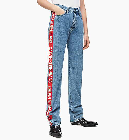 CALVIN KLEIN JEANS CKJ 030 High Rise Taped Straight Jeans - ICONIC MID STONE SIDE STRIPE - CALVIN KLEIN JEANS DENIM SHOP - main image