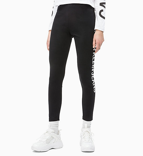 CALVIN KLEIN JEANS Side Logo Leggings - CK BLACK - CALVIN KLEIN JEANS NEW IN - main image