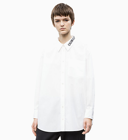 CALVIN KLEIN JEANS Oversized Logo Collar Shirt - BRIGHT WHITE - CALVIN KLEIN JEANS NEW IN - main image