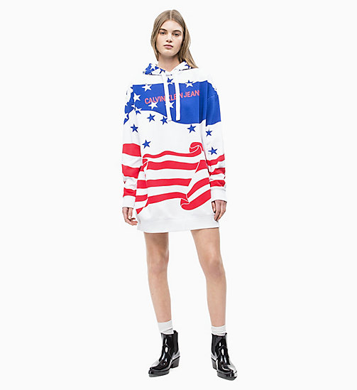 CALVIN KLEIN JEANS Flag Print Hoodie Dress - FLAG AOP SURF THE WEB MULTI - CALVIN KLEIN JEANS NEW IN - detail image 1