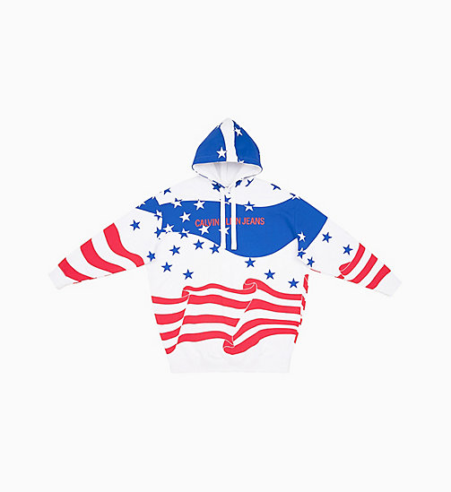CALVIN KLEIN JEANS Flag Print Hoodie Dress - FLAG AOP SURF THE WEB MULTI - CALVIN KLEIN JEANS NEW IN - main image