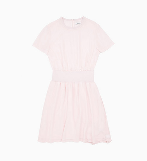 CALVIN KLEIN JEANS Crepe Fit and Flare Dress - STRAWBERRY CREAM - CALVIN KLEIN JEANS NEW IN - main image